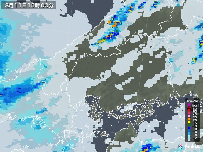 広島県の雨雲レーダー(2020年08月11日)