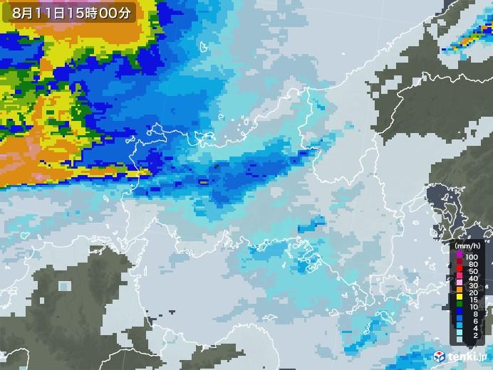 山口県の雨雲レーダー(2020年08月11日)