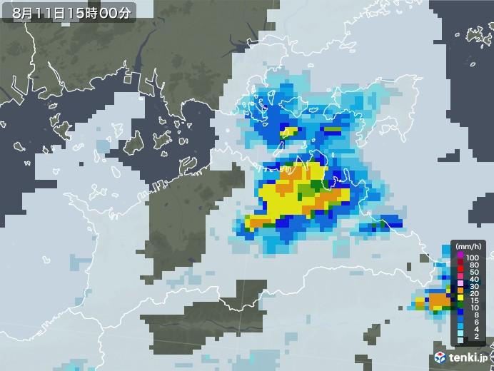 香川県の雨雲レーダー(2020年08月11日)