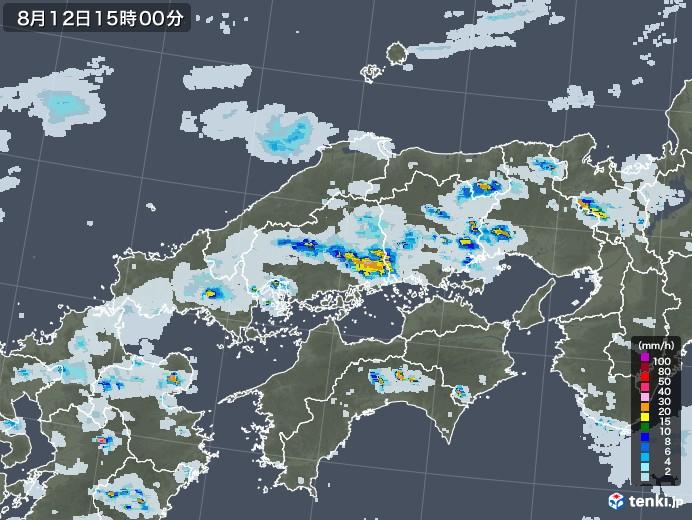 中国地方の雨雲レーダー(2020年08月12日)