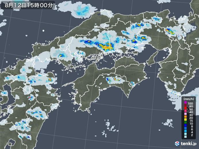 四国地方の雨雲レーダー(2020年08月12日)