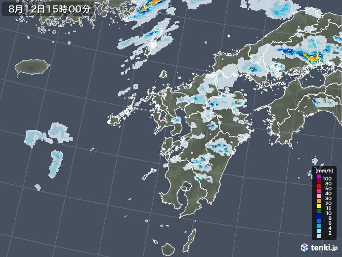 九州地方の雨雲レーダー(2020年08月12日)