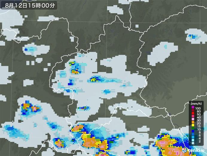 群馬県の雨雲レーダー(2020年08月12日)