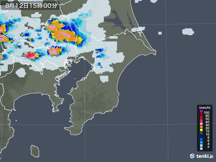 千葉県の雨雲レーダー(2020年08月12日)