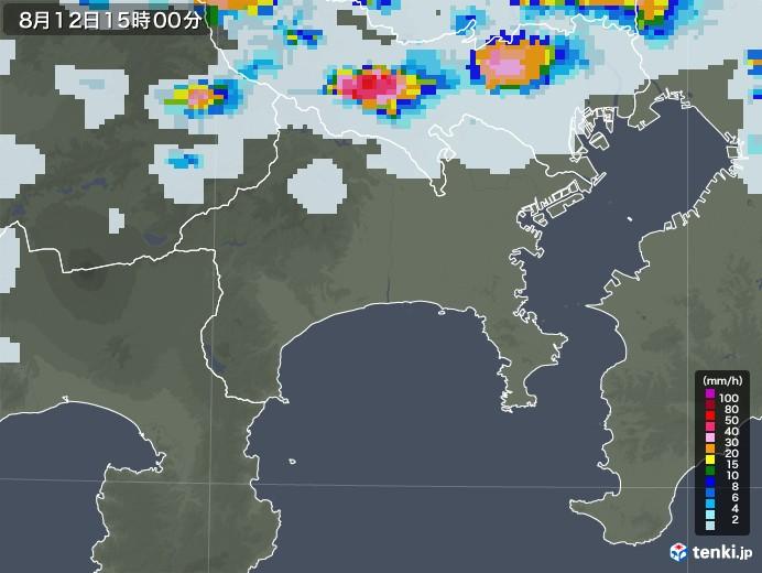 神奈川県の雨雲レーダー(2020年08月12日)