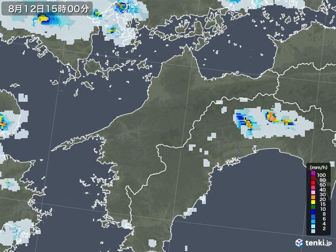 愛媛県の雨雲レーダー(2020年08月12日)