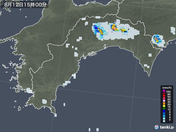 高知県の雨雲レーダー(2020年08月12日)