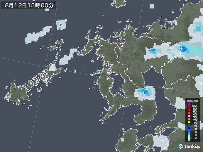 長崎県の雨雲レーダー(2020年08月12日)