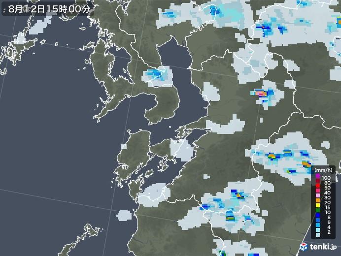 熊本県の雨雲レーダー(2020年08月12日)