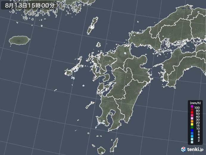 九州地方の雨雲レーダー(2020年08月13日)