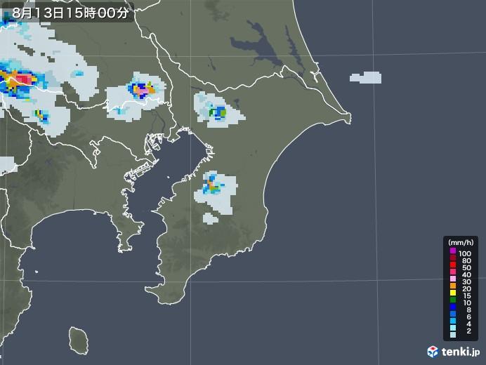 千葉県の雨雲レーダー(2020年08月13日)