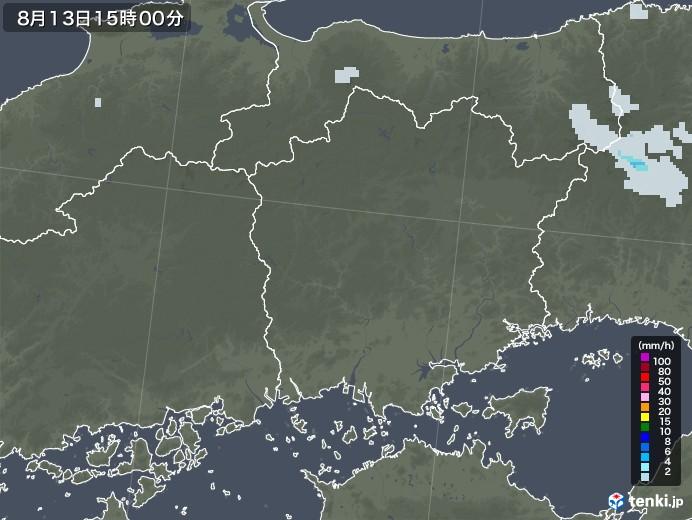 岡山県の雨雲レーダー(2020年08月13日)