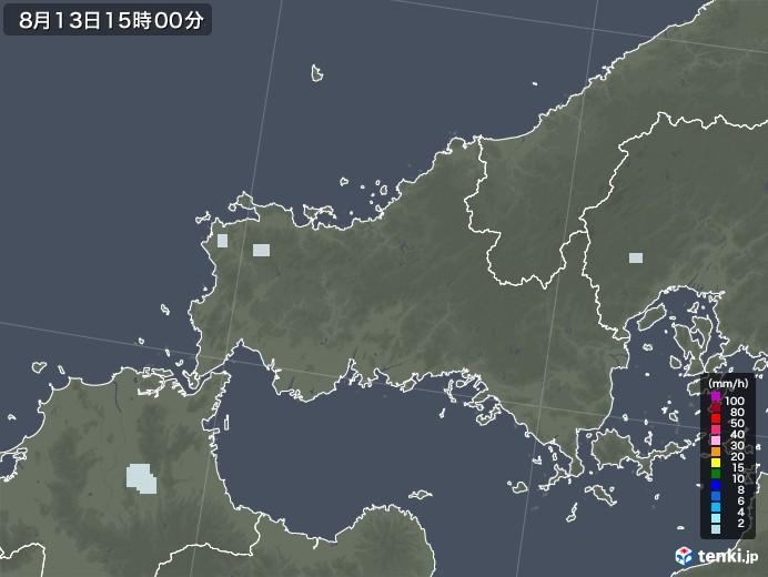 山口県の雨雲レーダー(2020年08月13日)