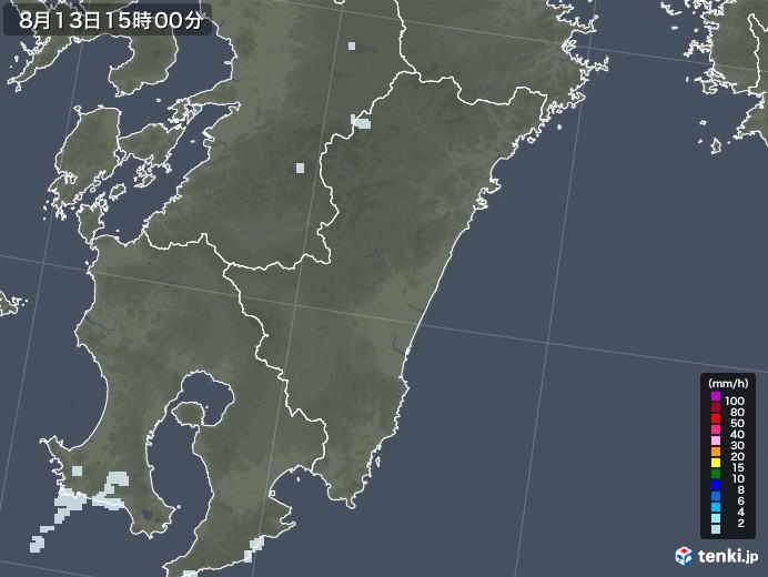 宮崎県の雨雲レーダー(2020年08月13日)