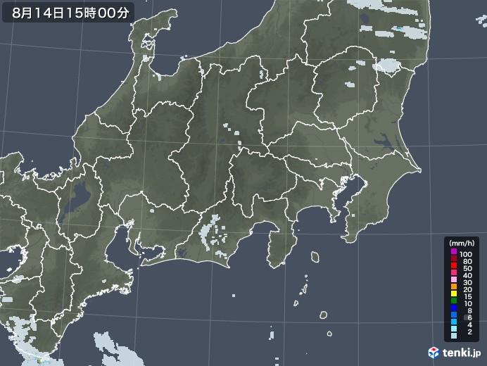 関東・甲信地方の雨雲レーダー(2020年08月14日)