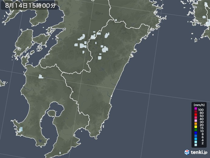 宮崎県の雨雲レーダー(2020年08月14日)