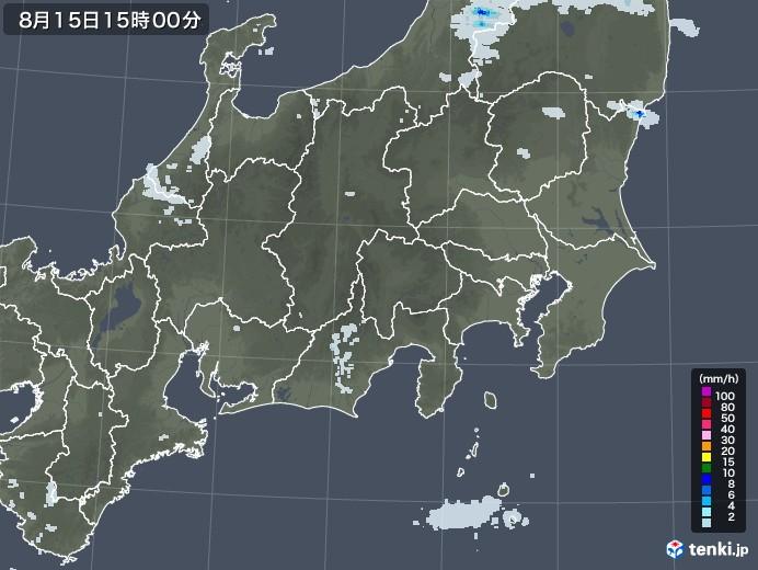 関東・甲信地方の雨雲レーダー(2020年08月15日)