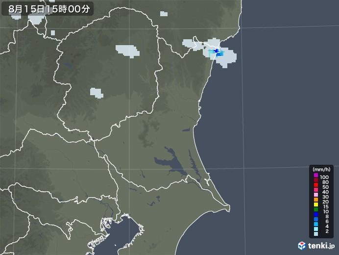 茨城県の雨雲レーダー(2020年08月15日)
