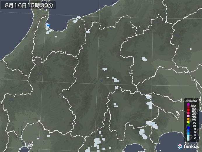 長野県の雨雲レーダー(2020年08月16日)