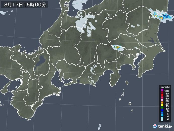 東海地方の雨雲レーダー(2020年08月17日)