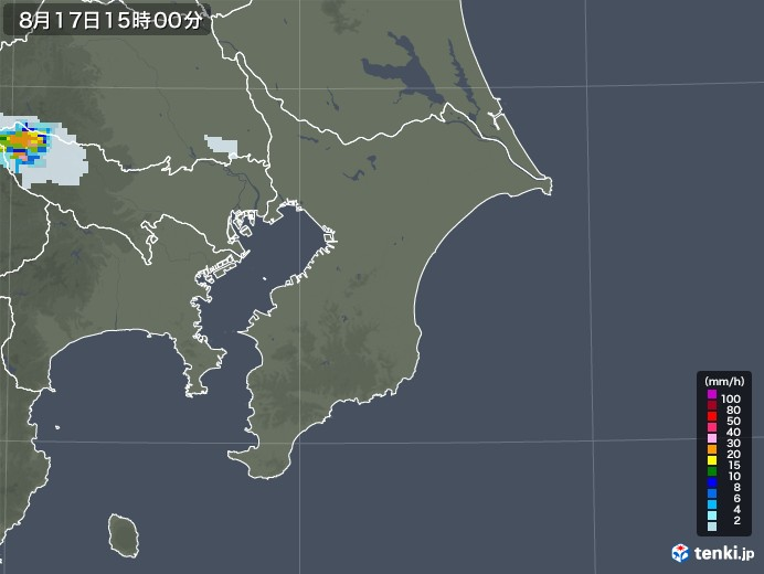 千葉県の雨雲レーダー(2020年08月17日)