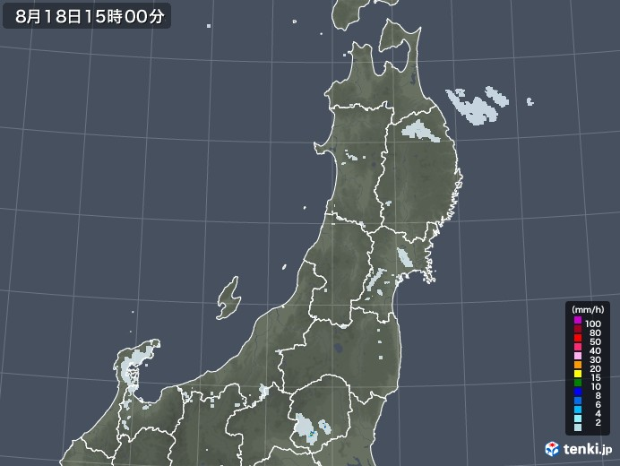 東北地方の雨雲レーダー(2020年08月18日)