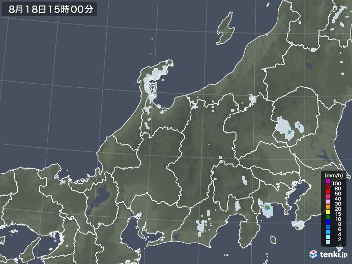 北陸地方の雨雲レーダー(2020年08月18日)
