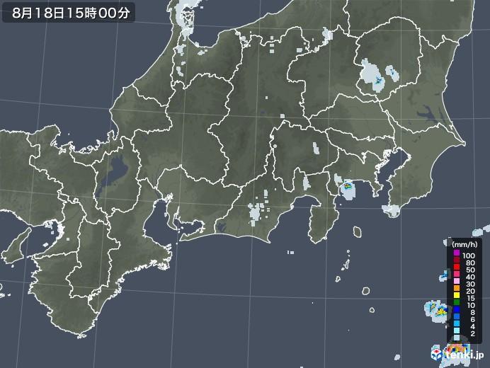 東海地方の雨雲レーダー(2020年08月18日)
