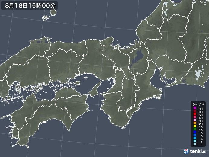 近畿地方の雨雲レーダー(2020年08月18日)