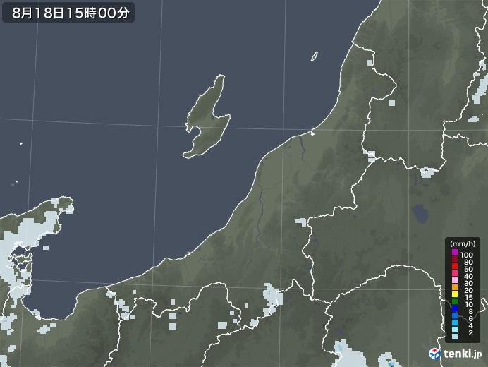 新潟県の雨雲レーダー(2020年08月18日)