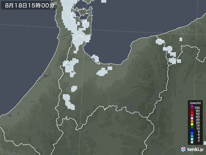 富山県の雨雲レーダー(2020年08月18日)