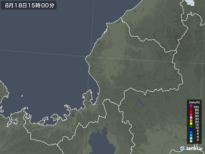 福井県の雨雲レーダー(2020年08月18日)