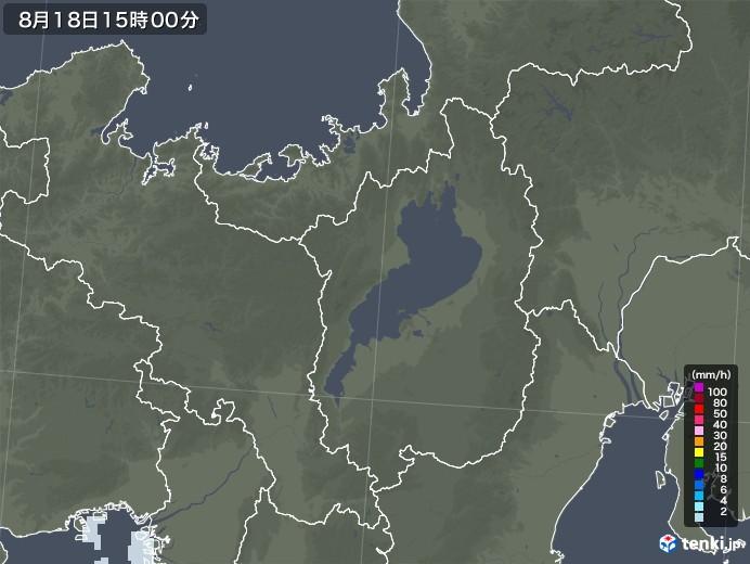 滋賀県の雨雲レーダー(2020年08月18日)