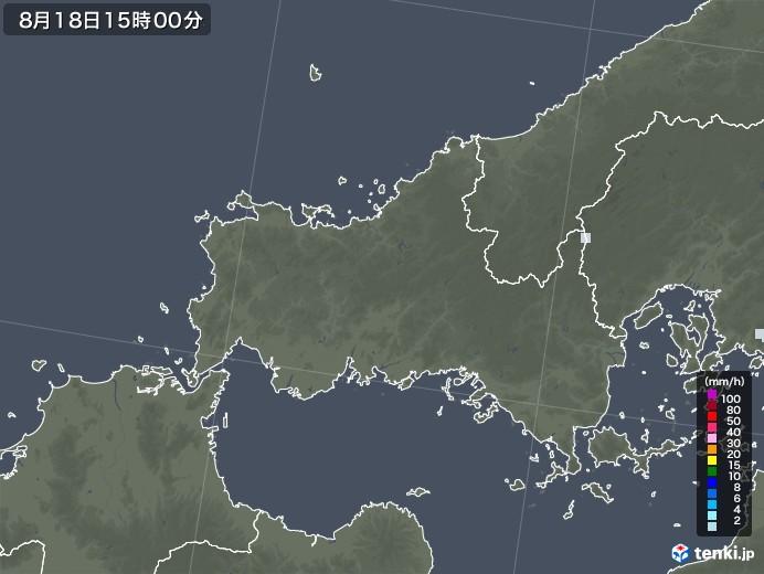 山口県の雨雲レーダー(2020年08月18日)