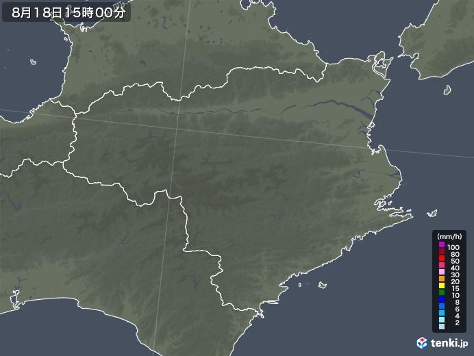 徳島県の雨雲レーダー(2020年08月18日)