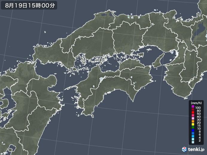 四国地方の雨雲レーダー(2020年08月19日)