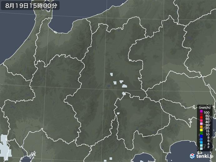 長野県の雨雲レーダー(2020年08月19日)