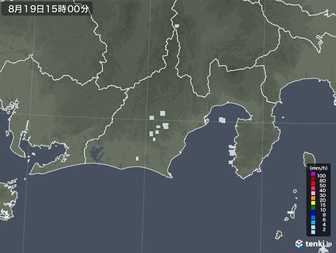 静岡県の雨雲レーダー(2020年08月19日)