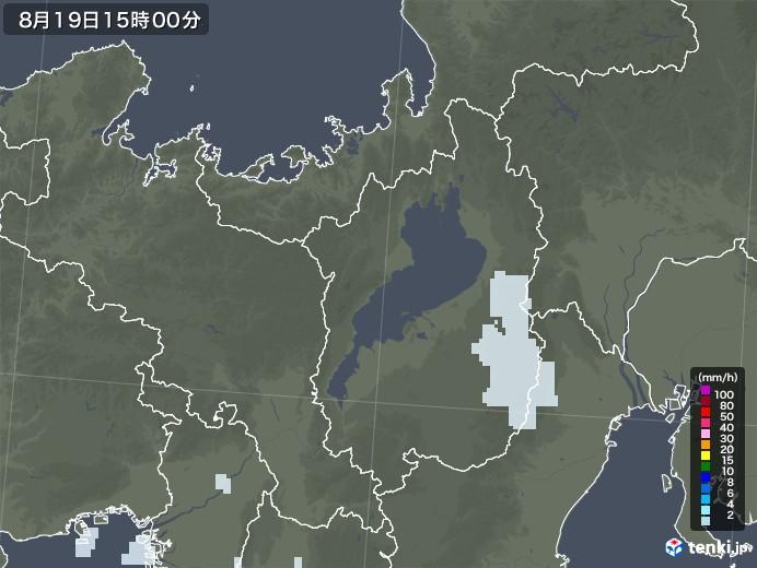 滋賀県の雨雲レーダー(2020年08月19日)