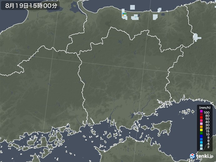 岡山県の雨雲レーダー(2020年08月19日)