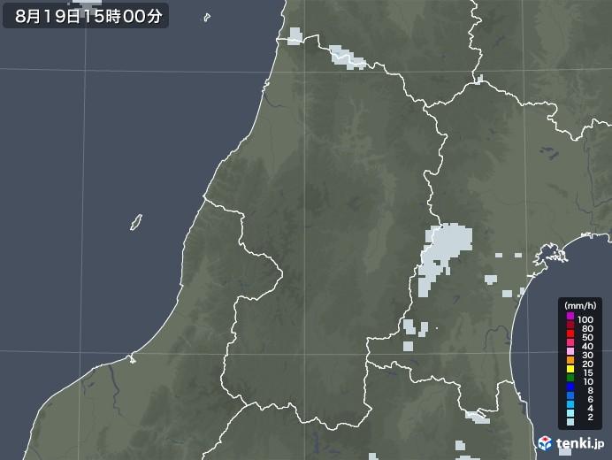 山形県の雨雲レーダー(2020年08月19日)