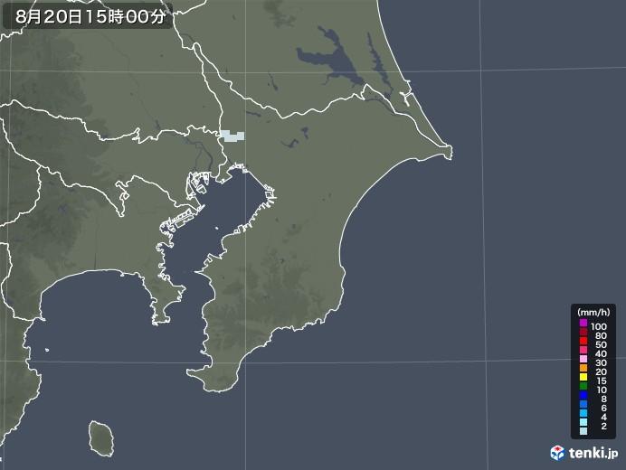 千葉県の雨雲レーダー(2020年08月20日)