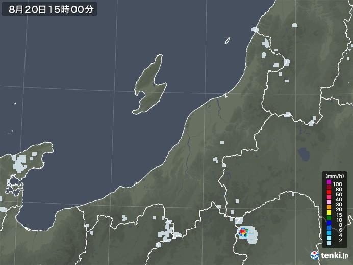 新潟県の雨雲レーダー(2020年08月20日)
