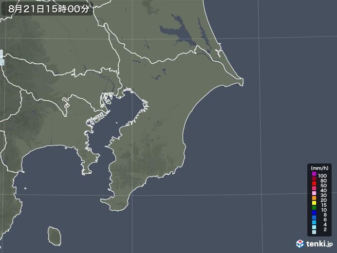 千葉県の雨雲レーダー(2020年08月21日)
