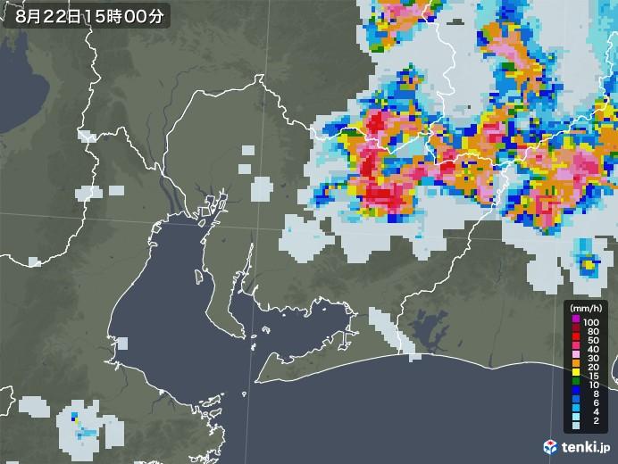 愛知県の雨雲レーダー(2020年08月22日)