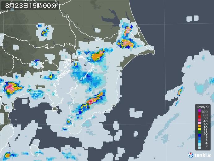 千葉県の雨雲レーダー(2020年08月23日)