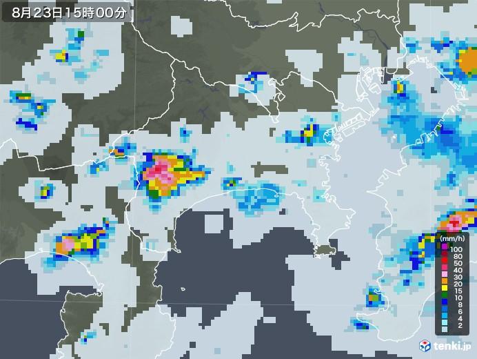 神奈川県の雨雲レーダー(2020年08月23日)
