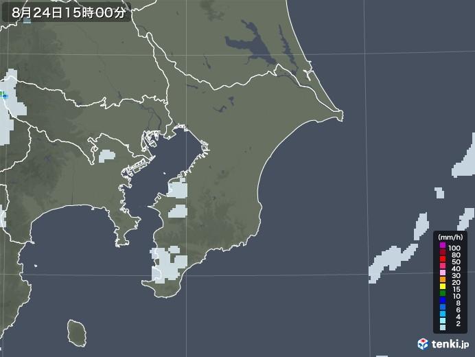 千葉県の雨雲レーダー(2020年08月24日)