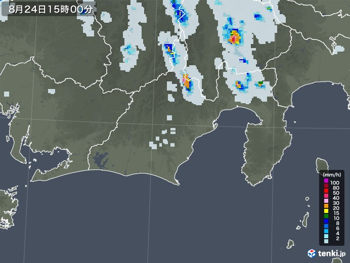 静岡県の雨雲レーダー(2020年08月24日)