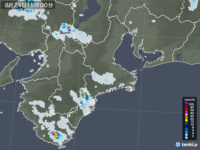 三重県の雨雲レーダー(2020年08月24日)